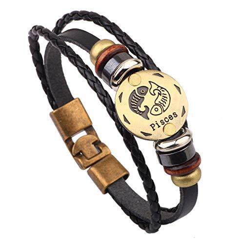 Vintage Leather 12 Constellations Bracelets Men Jewelry Brand Braided Black Zodiac Casual Punk Rock Bracelets & Bangles,Pisces