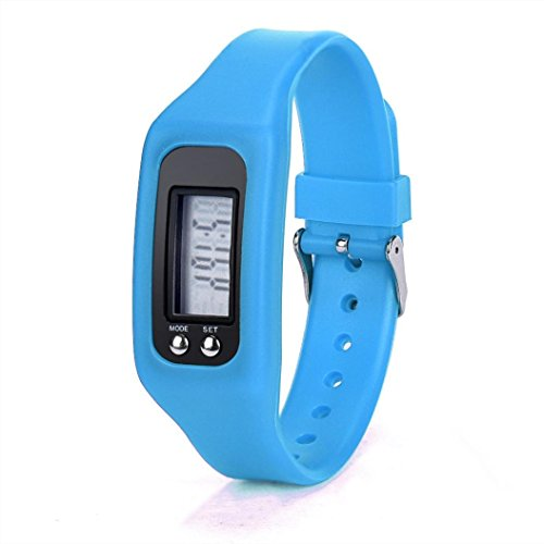 Perman Durable Digital LCD Pedometer Run Step Walking Distance Calorie Counter Watch Bracelet (HONHX Blue) (Function Digital Pedometer)