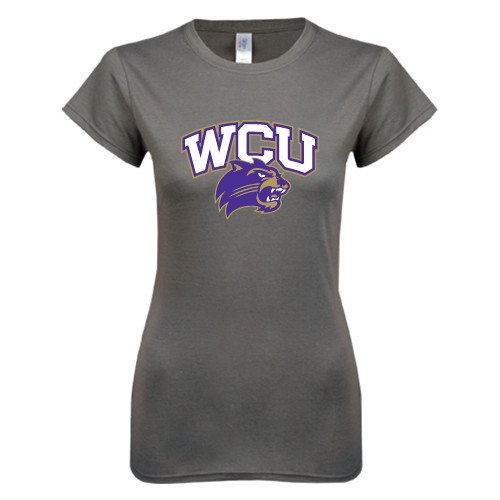 Western Carolina Ladies Softstyle Junior Fitted Charcoal Tee 'WCU w/Head'