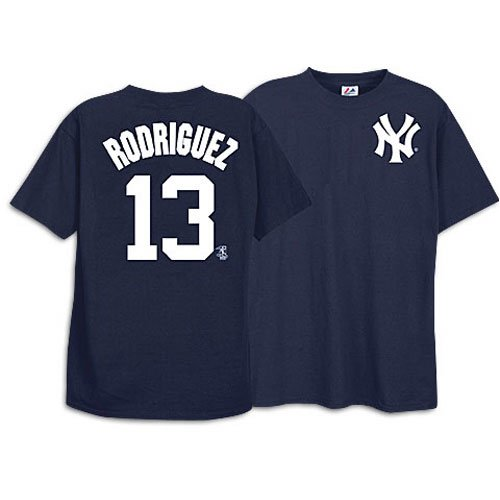 Mens Number Name Mlb Player (Majestic Yankees Men's MLB Player Name Number Tee - Rodriguez, Alex (sz. XXL, Navy : Rodriguez, Alex : Yankees))