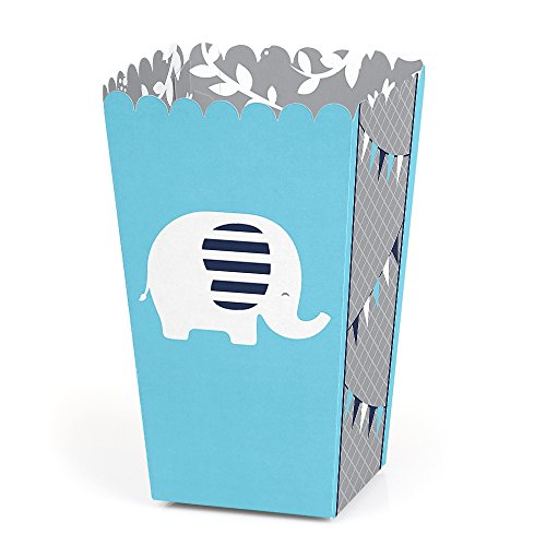 Blue Elephant - Boy Baby Shower or Birthday Party Favor Popcorn Treat Boxes - Set of 12