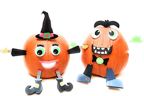 Pumpkin Decor Kit Push In No Carving for Fall Halloween Thanksgiving 2pk (Witch / Vampire) -