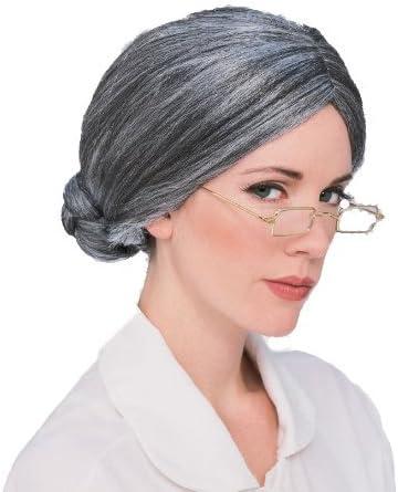 10 x gris vieja abuela del bollo peluca de pelo disfraz: Amazon.es ...