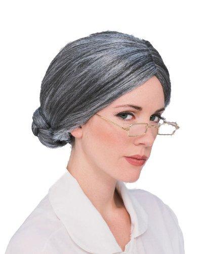 5 x gris vieja abuela del bollo peluca de pelo disfraz