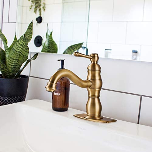 Bathroom Sink Faucet Antique Brass Single Handle 1 Hole Deck Mount Vanity Mixer Tap Lead-Free Lavatory Include Pop Up Drain with Overflow Commercial