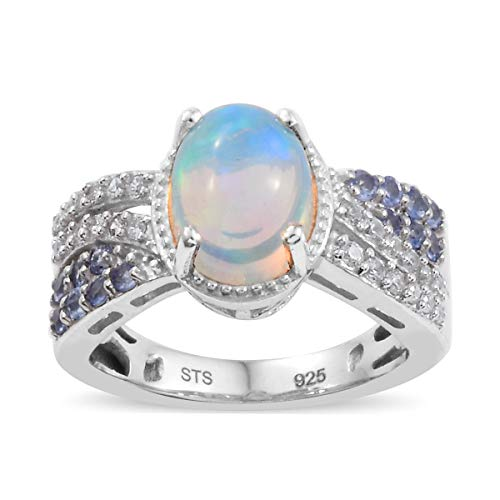 (Welo Opal Tanzanite Promise Ring 925 Sterling Silver Platinum Plated Jewelry for Women Size 7)