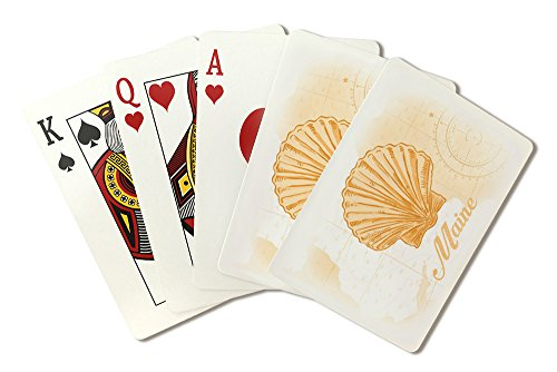 Maine - Scallop Shell - Yellow - Coastal Icon (Playing Card Deck - 52 Card Poker Size with Jokers)