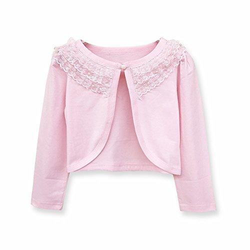 Sinmoocy Little Girls' Long Sleeve Lace Bolero Shrug Cardigan Pink Size 2T (Girls Pink Cardigan Sweater)