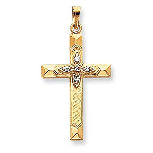 .01ct. diamants bruts 14 Carats Pendentif croix-Dimensions :  19,3 x 36,8-JewelryWeb mm