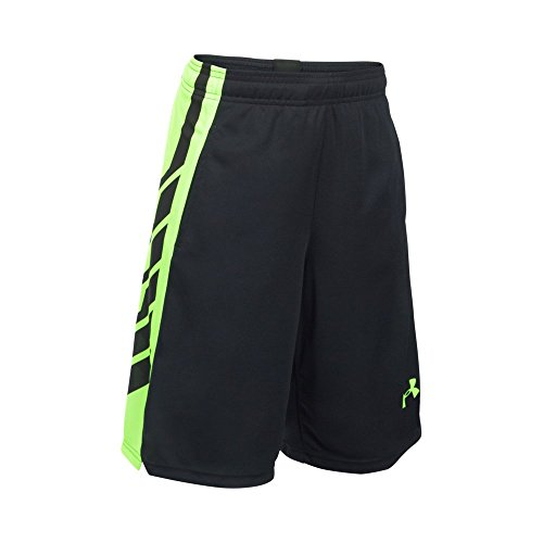 Under Armour Boys' Select Basketball Shorts, Black/Fuel Green, Youth Small Collection Under Armour