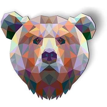 AK Wall Art Bear Modern Triangles - Magnet - Car Fridge Locker - Select Size