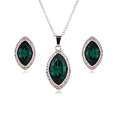 Hot Women's Stainless Steel Jewelry Sets Fashion Cute Jade Pendant Necklaces Stud Earrings hot sale