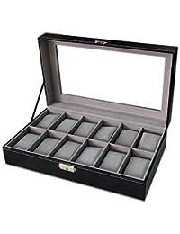 WBPU12-03 Watch Dislpay Box Organizer, Pu Leather with Glass Top, Large, Black