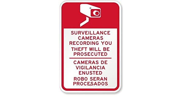 Amazon.com: Surveillance Cameras Recording You, Theft Will be Prosecuted, Cameras De Vigilancia Sign, 18