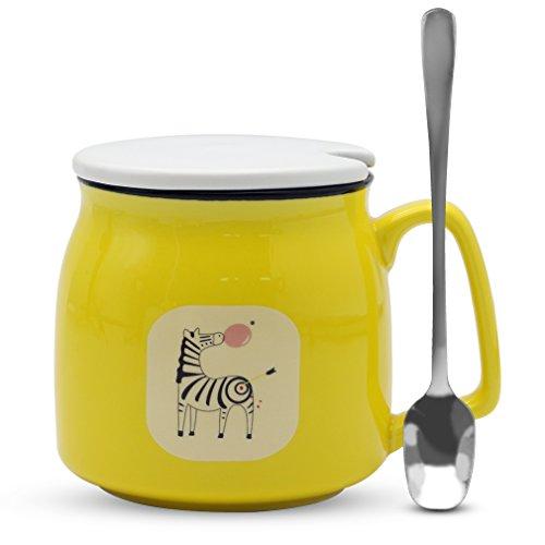 Asmwo Cute Zebra Mug Funny Yellow Ceramic Coffee Tea Mug with Lid and Spoon Birthday Christmas Thanks Giving Gift Mugs for Women Girls Boys Kids 12 oz (Ceramic Base Wide Coffee Mug)