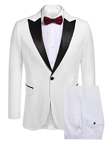Coofandy Mens Slim Fit 2 Piece Dress Suit One Button Tuxedo Blazer Jacket & Pants Set for Wedding Party Prom, White, Large (White Blazer Suit For Men)