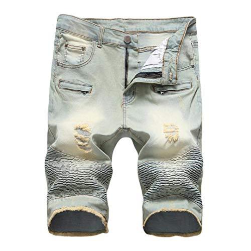 Usati Crumple Moderna Vintage A Casual Chiusura Di Da Fit Pantaloni Dritti Den Jeans Uomo Slim Pantaloncini Con Strappo Stile t0nTfwqBxS