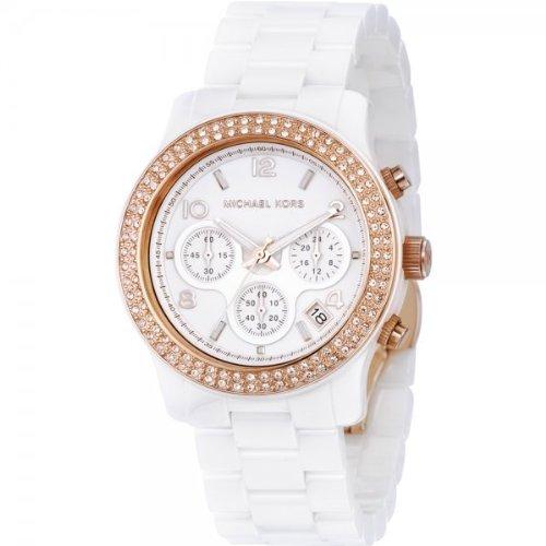 Michael Kors Women's White Ceramic Link Bracelet Quartz Chronograph Two Tone Crystal MK5269