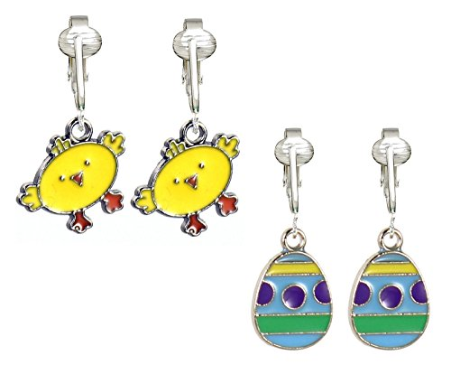 Fun Easter Clip Earrings, Special Easter Eggs, Chick, Lamb, Bunny Charm, Holiday Clip-on (Egg/Chick, Set of Two)
