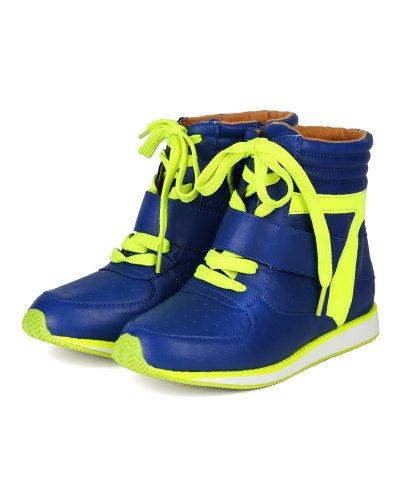 Qupid Ah93 Kvinner Leather Multi Farge Snøring Høy Topp Mote Sneaker - Blå