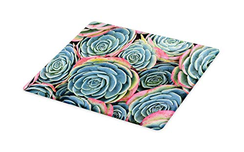 Lunarable Succulent Cutting Board, Thick Leaves and Petals of Exotic Flora Closeup Above Photo, Decorative Tempered Glass Cutting and Serving Board, Small Size, Slate Blue Pale Teal Pastel Pink ()