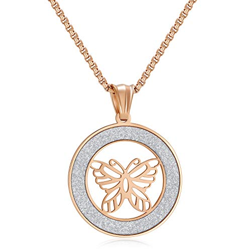 - Love Explosion Stainless Steel Round Pendant Necklace for Women and Men Religious Engraved Medallion Beautiful Butterfly Pattern Jewelry with Adjustable Chain