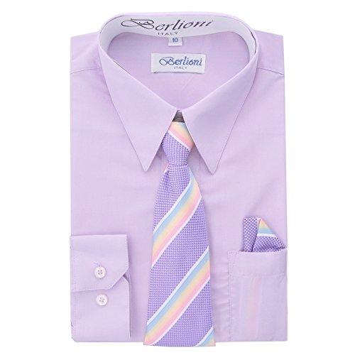 Boy's Dress Shirt, Necktie, and Hanky Set - Lilac, Size 10