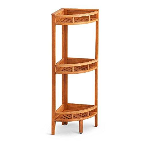 Teak 3 Tier Shower Caddy Corner Shelf Stand Mildew Resistant