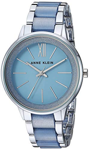 (Anne Klein Women's AK/1413LBSV Silver-Tone and Light Blue Resin Bracelet Watch)