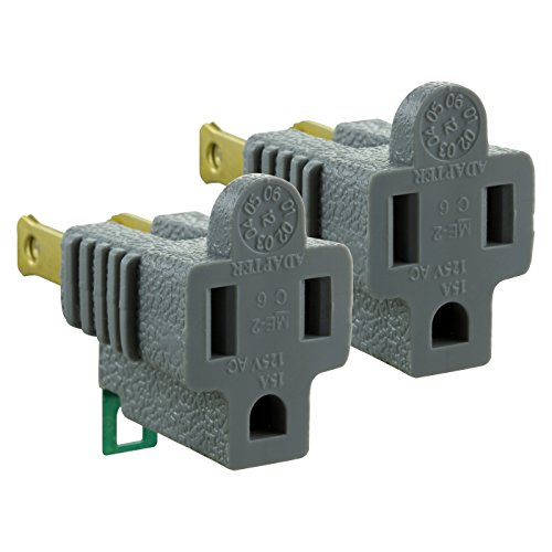 Adapter Cyberpower (Katzco 3-Prong To 2-Prong Grounding Adapter - 2 Piece For Wall Outlet Plugs - Converters For Outlets, Electrical, Household, Workshops, Industrial, Machinery, And Appliances - UL Listed)