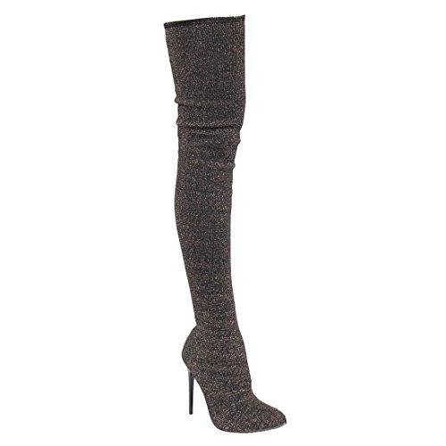 Beston EK34 Damen Stretchy Snug Fit Socke Oberschenkel hohe Stiefel halbe Größe klein Schwarzes Gold