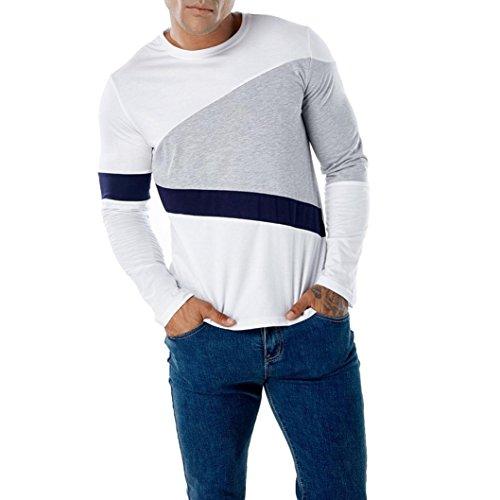 Realdo Long Sleeve T-Shirt for Men, Fashion Casual Slim Splice Color Crewneck Muscle Shirt Top(White,XX-Large) -