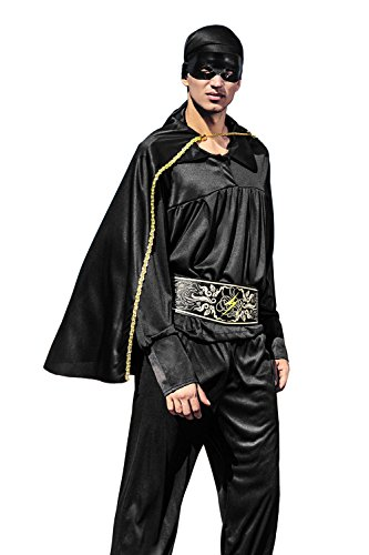 [Adult Men Bandido Costume Black Mask Mexican Avenger Noble Robber Vendetta Cosplay (Small/Medium, Black)] (Robber Halloween Costume Ideas)