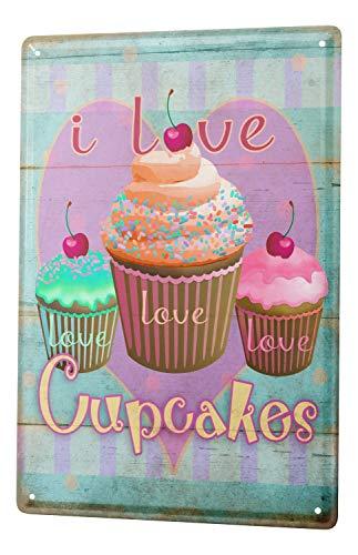 Cupcake Canvas Art - Tin Sign Nostalgic Fun Decoration I Love Cupcakes Cherry Streusel Metal Wall Plate 8X12