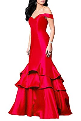 Off Shoulder Mermaid Evening Dresses Ruffles Long Satin Prom Gown with Lace up
