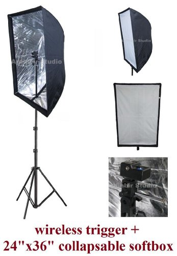 Universal Studio Flash 60x90cm 24''x36'' Easy Softbox Diffuser Kit with Wireless Remote Trigger for Canon, Nikon, Panasonic, Leica, Pentac, Olympus DSLR Camera & Speedlite Flash by Ardinbir Studio