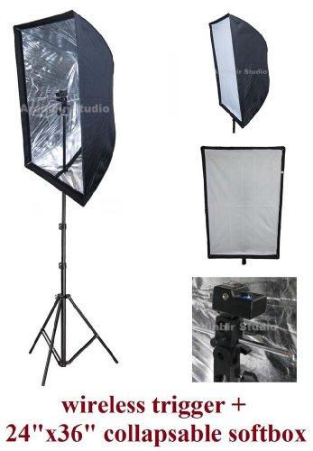 Universal Studio Flash 60x90cm 24''x36'' Easy Softbox Diffuser Kit with Wireless Remote Trigger for Canon, Nikon, Panasonic, Leica, Pentac, Olympus DSLR Camera & Speedlite Flash by Ardinbir Studio