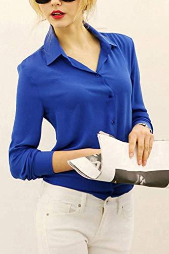 Blouse Bleu Automne Manche Bouffant Manches Battercake Haut Longues Blouse Uni Affaires Femmes Printemps Revers Chemise lgant Shirts Femme Style des Dame Chemisier Casual Moderne gAwqqSxd
