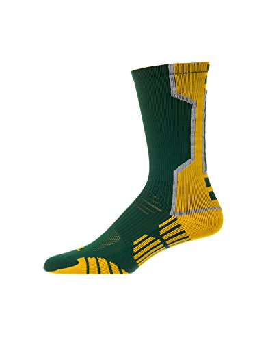 CSI I-Formation Athletic Crew Socks USA made Small Dk Green/Gold