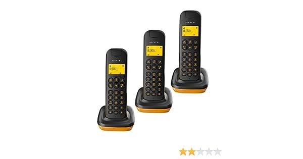Alcatel D135 Trio - Tres Teléfonos Inalámbricos con Mini Base, Color Negro y Naranja: Alcatel: Amazon.es: Electrónica