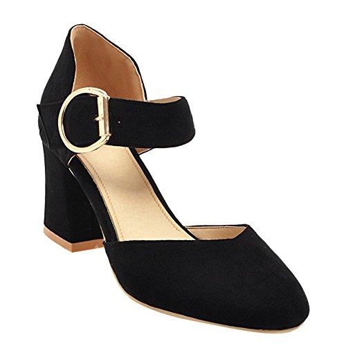 Mee Shoes Damen Chunky Heels Schnalle Ankle Strap Pumps Schwarz