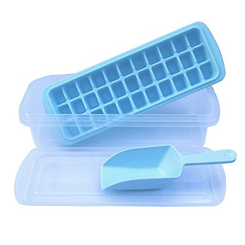 Ice Cube Trays-Ice Trays with No-spill Cover,Ice Scoop,Ice Cube Bin,Makes 33 Ice Cubes