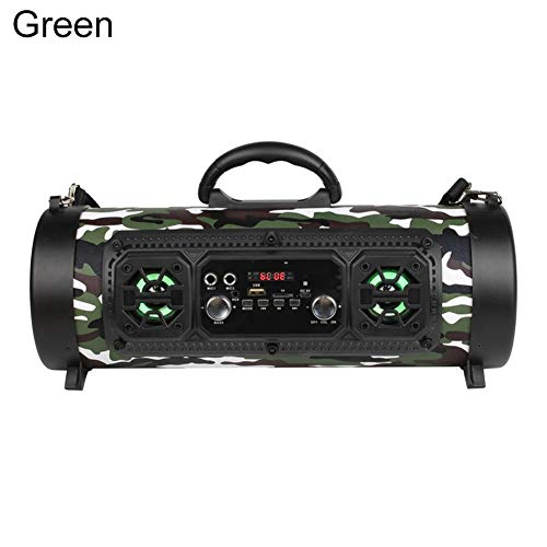KINGBEEF Bluetooth Speaker, Outdoor Portable M17 Stereo Wireless Bluetooth Speaker Subwoofers, 360 Degrees Surround Sound Suitable for Car, Home, Party - Green:
