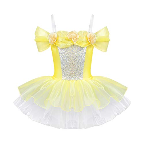 CHICTRY Kids Girls Fairy Princess Sequins Organdy Dance Ballet Tutu Dress Stage Costume Yellow 5-6 (Organdy Flowers)