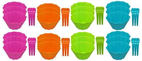 (Set of 24 Ice Cream Bowl & 24 Spoon Sets! Matching Spoons - 48pc Set - Adorable Flower Wave Design - 4 Bright and Beautiful Colors - Perfect for Parties, Kid's, Picnics, or Family Events ! (24))