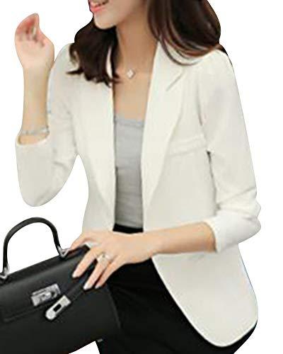 Business Donna Bianco Ufficio Fit Blazer Giacche Manica Elegante Casual Slim Tailleur Lunga Giacca 0wwqHdT