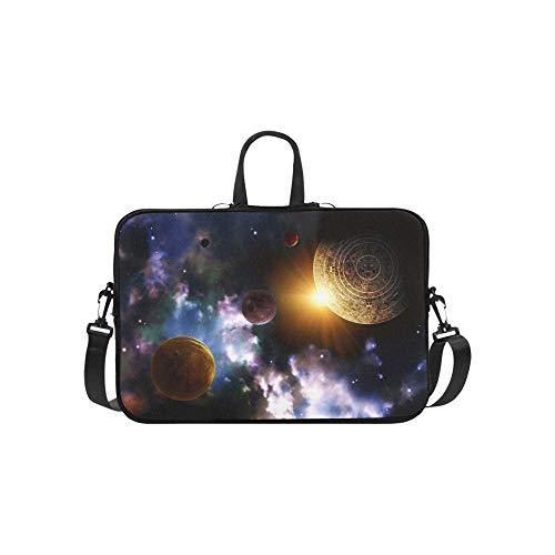 (Maya Prophecy Horizontal Space Scene Briefcase Laptop Bag Messenger Shoulder Work Bag Crossbody Handbag for Business Travelling )