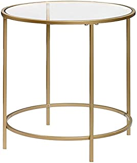 Sauder 417829 Int Lux Side Table Round, Glass/Satin Gold Finish