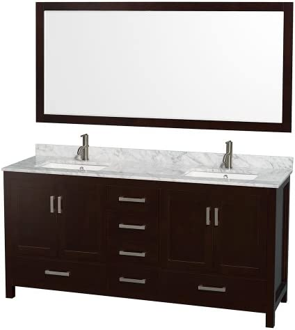 Wyndham Collection Sheffield 72 inch Double Bathroom Vanity