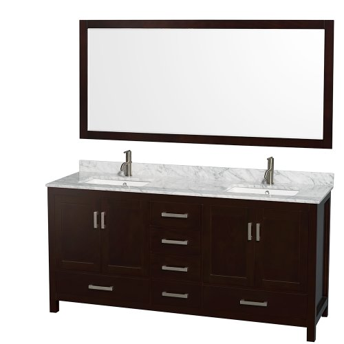 Wyndham Collection Sheffield 72 inch Double Bathroom Vanity in Espresso, White Carrera Marble Countertop, Undermount Square Sinks, and 70 inch Mirror
